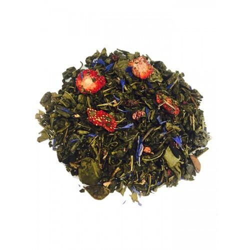 VEERTEA herbata zielona z truskawką i bławatkiem  270 g -  duże zwinięte liście