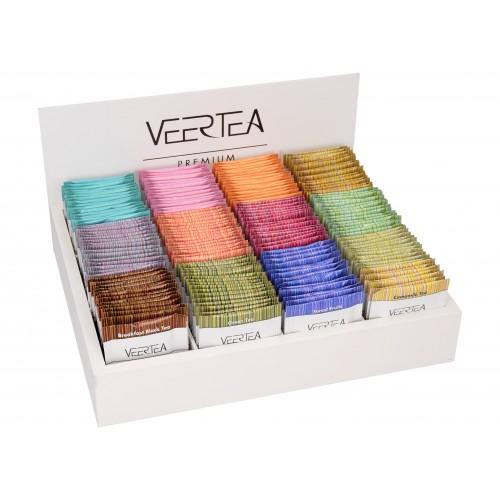 Zestaw herbat VEERTEA -  drewniana biała otwarta  skrzynka 180 kopert / saszetek