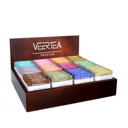 Zestaw herbat VEERTEA - 180 kopertek - brązowa drewniana otwarta skrzynka