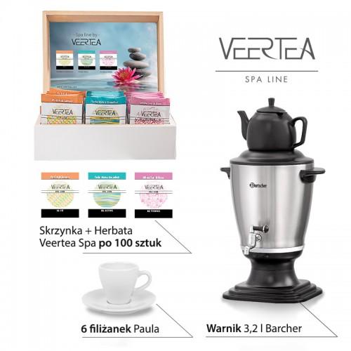 Zestaw herbat Veertea do SPA - warnik Barcher, 300 herbat, 6 filiżanek