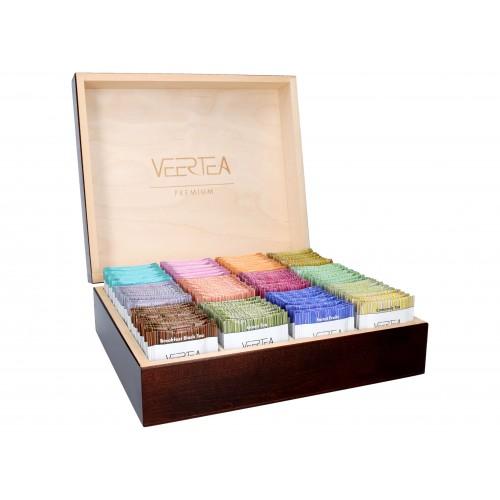 Zestaw herbat VEERTEA - drewniana brązowa  zamykana skrzynka 180 kopert / saszetek