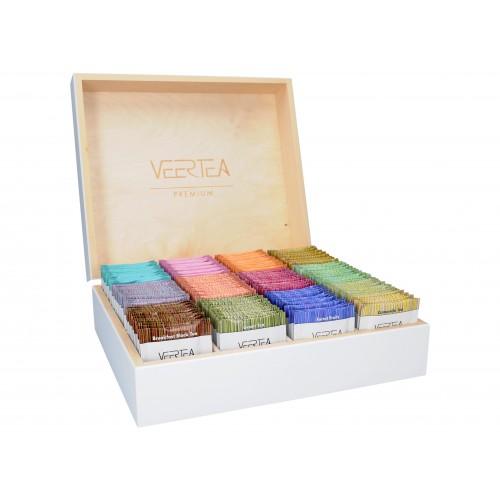 Zestaw herbat VEERTEA - drewniana biała zamykana  skrzynka 180 kopert / saszetek