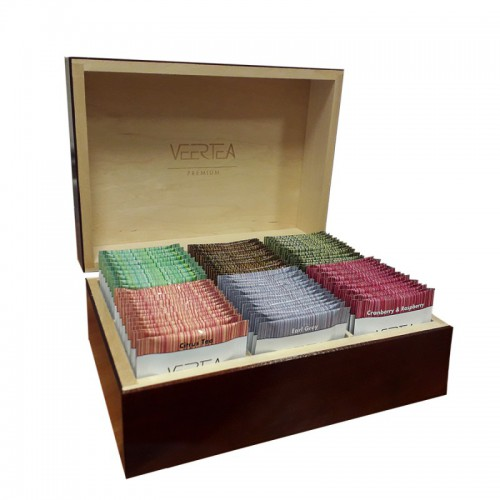 Pudełko drewniane na herbatę, herbaciarka, preznter - BEZ HERBATY